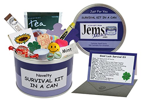Kit de Supervivencia buena suerte en una lata. Humorística de la novedad de la diversión del regalo - Presente y tarjeta todo en uno. Nuevo trabajo, Dejar, emigrar, alejándose etc. modifique s