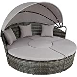 Garden Bed in Woven Resin, with Foldable Sun Visor + Cushions, GIS