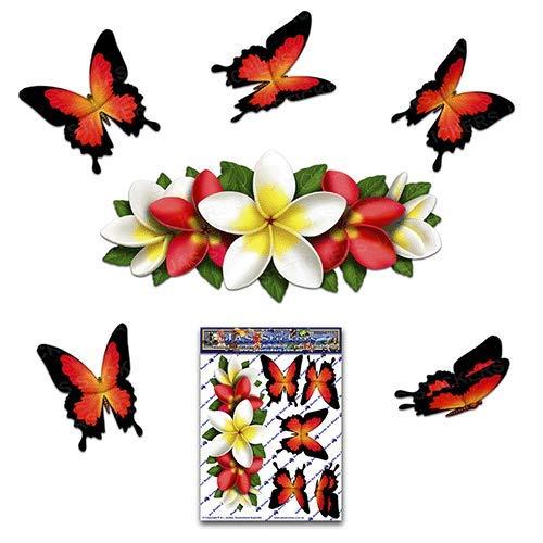 Flor roja Frangipani Plumeria centro pequeño + mariposa animal coche etiqueta engomada...
