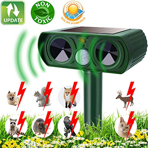 KOEPUO Cat Repellent, Animal Repeller Ultrasonic Solar Powered Waterproof Cat Scarer Pest Repeller with Motion Sensor Pet Deterrent for Garden Yard Farm Lawn Field Cats Dogs Fox Rats Raccoon etc