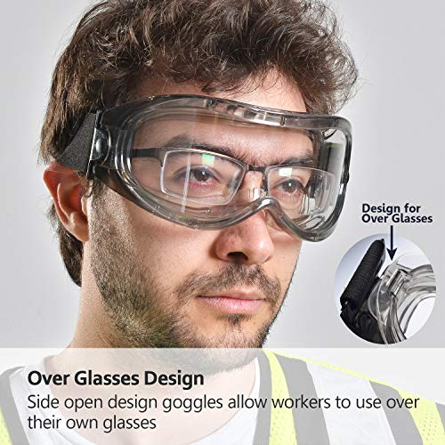 SAFEYEAR Schutzbrille Arbeitsbrille für Brillenträger - SG007 mit Seitenschutz und Rutschfesten Bügeln UV-Schutz mit Lüftung Gartenarbeit (Transparent) - 4