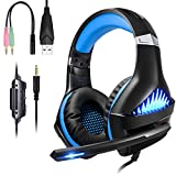 BlueFire Upgraded Professional PS4 Gaming Headset 3.5mm Wired Bass Stereo Noise Isolation Gaming Headphone with Mic and LED Lights for Playstation 4, Xbox one, Laptop, PC (Red) (Renewed)