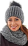 Set scaldacollo sciarpa ad anello e cuffia berretto con pompon morbidissimo (Grafite)