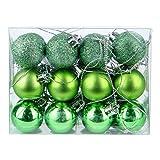 DomoWin Bolas de Navidad, Bolas para árbol de Navidad Decoración de Bolas de Navidad Inastillable Decoración del Árbol De Navidad Set de 24 Bolas (Verde, 3 cm Ø)