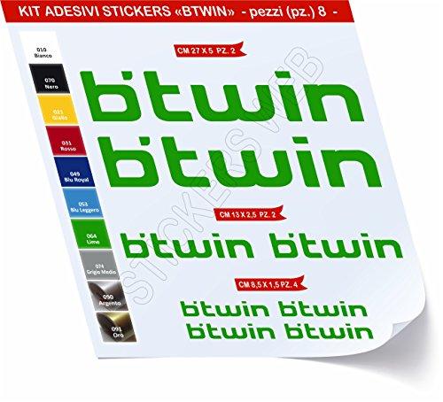 Adesivi Bici BTWIN_Kit 1_ Kit Adesivi Stickers 08 Pezzi -Scegli SUBITO Colore- Bike Cycle pegatina cod.0479 (Verde Lime cod. 064)
