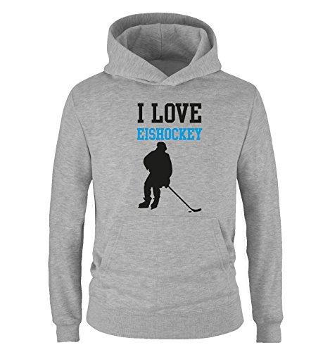 Comedy Shirts I Love Eishockey - Kinder Hoodie - Grau/Schwarz-Blau Gr. 140