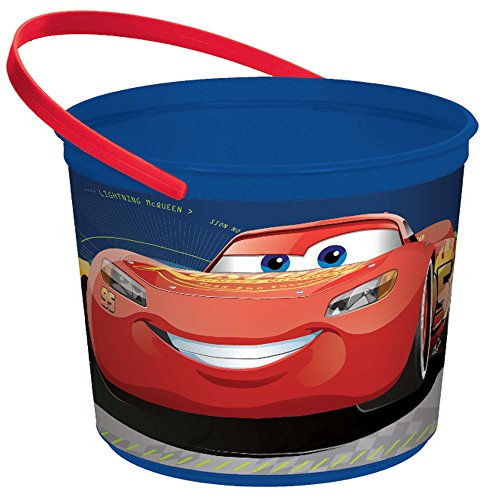 "amscan 261763 Disney Cars 3"" Blue Plastic Container,One Size, Multicolor"