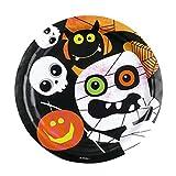 Amakando Partyteller 8 Halloween Teller 23 cm Partygeschirr Kinder Speiseteller Pizzateller Tischdeko Kinderteller Essteller Geister Pappteller Einwegteller Grillteller Partyteller