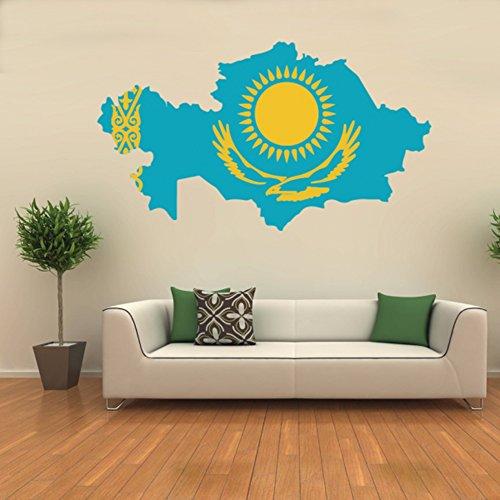 DIYthinker Flaggen-Karte von Kasachstan Wand Vinylaufkleber Custom Home Dekoration Wand-Aufkleber Hochzeits-Dekoration PVC-Tapeten Mode-Design