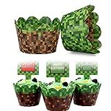 BETOY Pirottini per Cupcake Cupcake Wrapper 24 Pezzi Avvolgi Muffin Decorativi Verde Feste di Compleanno Decorazioni per Ragazzi Bambini