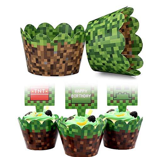BETOY Cupcake Wrappers 24 Stück Cupcake Toppers Wrappers Cupcake Wrapper für Geburtstag Kuchendeko für die Geburtstagsfeier