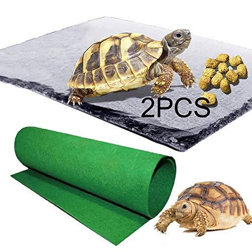 Reptile Basking Platform Tortoise Rock Plate Reptile Carpet Tortoise Feeding Plate Bowl Turtle Bathing Area Feeding Food Dish Resting Terrace for Lizard Bearded Dragon Turtle Crested Gecko Snake 2pcs