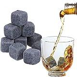 BESLIME 9Pcs Whisky Piedras Set,Whiskey Rocks Granito, Reutilizable Piedra de Hielo, para Enfriar el Whiskey Vino y Te sin sobre-Enfriarlo ni Diluirlo, (Bolsa de Terciopelo)