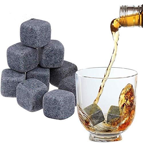 BESLIME Whiskysteine, 9 Wiederverwendbare Kühlsteine, Wein Getränke Kühler Cubes Whiskey Rocks, mit Samttasche (20 * 20 * 20mm)