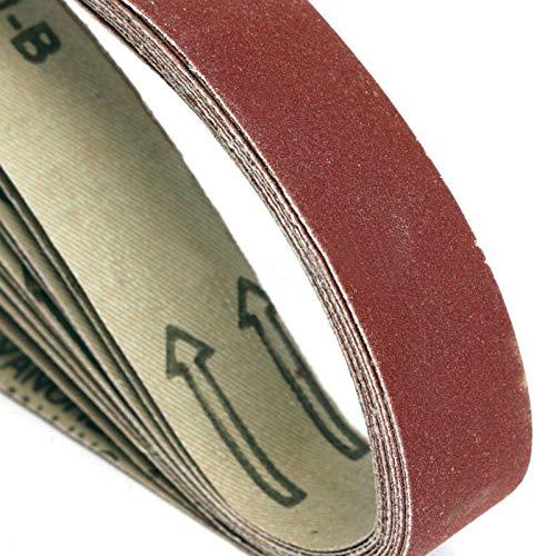 GHKUFH Schuurband 10 Pack 330 * 10 mm 520 * 20 mm bruin aluminiumoxide schuurbanden 60-1000 Grit slijpen en polijsten vervanging voor haakse slijper Machin, 10st 330 mm x 10 mm