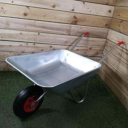 Samuel ALEXANDER 65 Litre 60kg Capacity Galvanised Metal Garden Wheelbarrow with Pneumatic Tyre