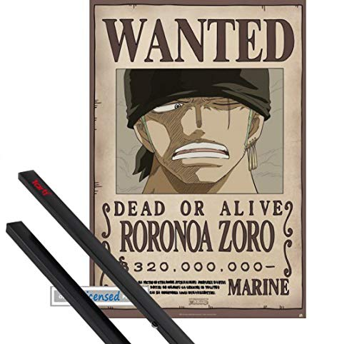 1art1 One Piece Poster (91x61 cm) Wanted Roronoa Zoro Inklusive EIN Paar Posterleisten, Schwarz