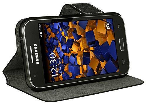 mumbi Tasche Bookstyle Case kompatibel mit Samsung Galaxy J1 Hülle Handytasche Case Wallet, schwarz