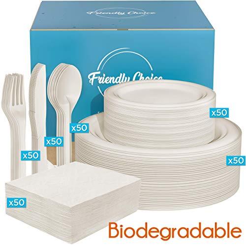 300pcs biodegradable dinnerware set