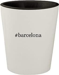 #barcelona - White Outer & Black Inner Hashtag Ceramic 1.5oz Shot Glass