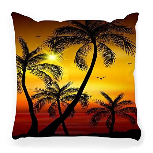 REAlCOOL Funda de almohada cuadrada suave de 45,7 x 45,7 cm, silueta de palmera, verano, abstracto, playa, costa roja, vacaciones, isla caliente, paisaje, hoja natural