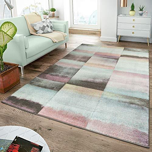 Moderner Teppich Wohnzimmer Teppiche Karos Pastell Türkis Rosa Anthrazit Multicolor, Größe:160x220 cm