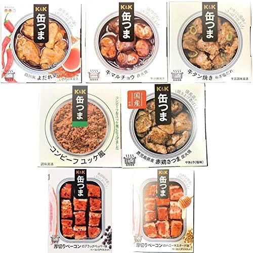 缶つま お肉詰め合わせ 7種類セット (各種1つ)お酒のおつまみアソート (四川風よだれ鶏、牛マルチョウ、コンビーフ ユッケ風、牛タン焼き ねぎ塩だれ、赤鶏さつま炭火焼、厚切りベーコンのブラックペッパー味&ハニーマスタード味)保存食 メッセージを自由に書け