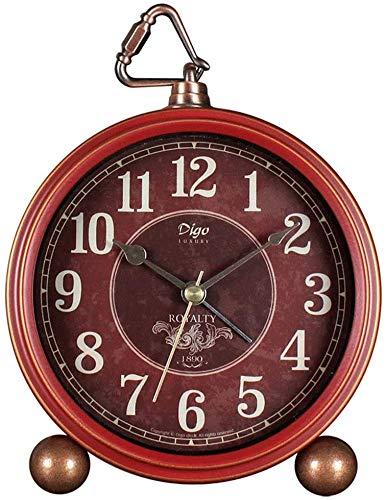 Nologo Alarma Vintage Redondo Reloj Despertador Reloj de Escritorio Silencioso Mesita de Noche Batería Reloj Decoración para Hogar Dormitorio Oficina Viaje Despertador Relojes, Rojo, 13.3x4.5x15.5cm