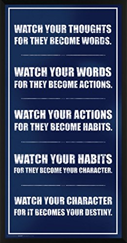 Culturenik Watch Your Thoughts Inspirational Motivational Photography Quote Print (Unframed 12x24 Poster)