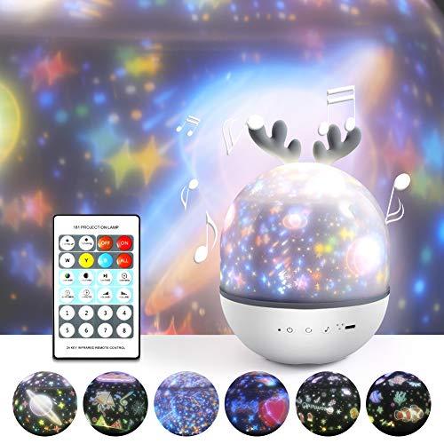 Projektor Lampe für Kinder,Petrichor LED Musik Nachtlicht Lampe Schlummerleuchten Schlafhilfe Kind 360° Rotation mit 8 Beruhigende Musik,6 Projektionsfilmen für Kinder Erwachsene Zimmer Dekoration
