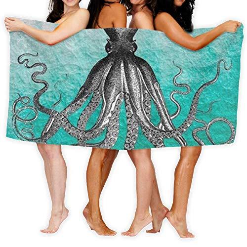 LOPEZ KENT Serviettes de Plage pour Femmes Hommes Deken Vintage Kleurrijke Nautische Octopus Badlakens Luxe 100% Polyester Zwembad Grote Handdoek Cover voor Yoga Mat Tent Floor 31.5