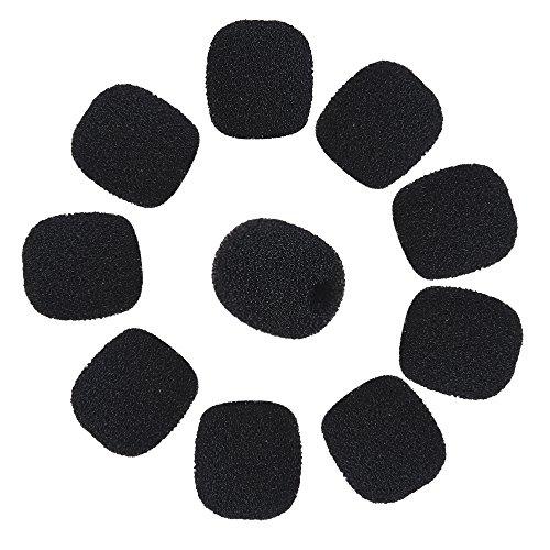 Andoer Mini Micrófono espuma Pantallas Antiviento de Micrófono Auriculares de Solapa Cubiertas de Micrófono de Espuma 10 Piezas Negro