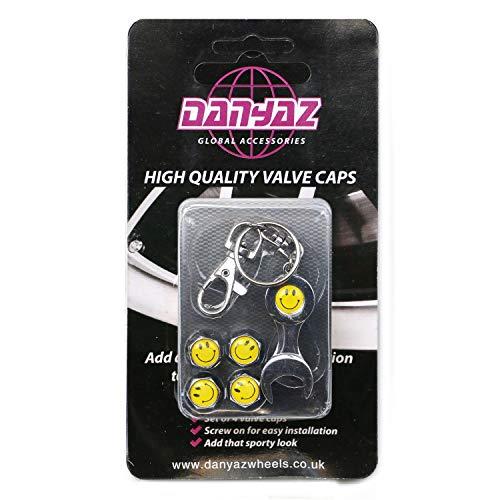Schutzkappen für Reifenventile, Design: Smiley, inkl. Schlüsselanhänger mit Maulschlüssel, 4-teiliges Set