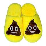 LUOEM Zapatillas de Estar por Casa Zapatillas Peluche Algodón Cómodas Pantuflas Invierno Antideslizante (Amarilla Divertida Cara Sonriente Caca) Size 38-39