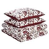 Amazon Basics - Juego de fundas de edredón y almohada de microfibra premium (260 x 220 cm / 50 x 80 cm), rojo rumba acuarela