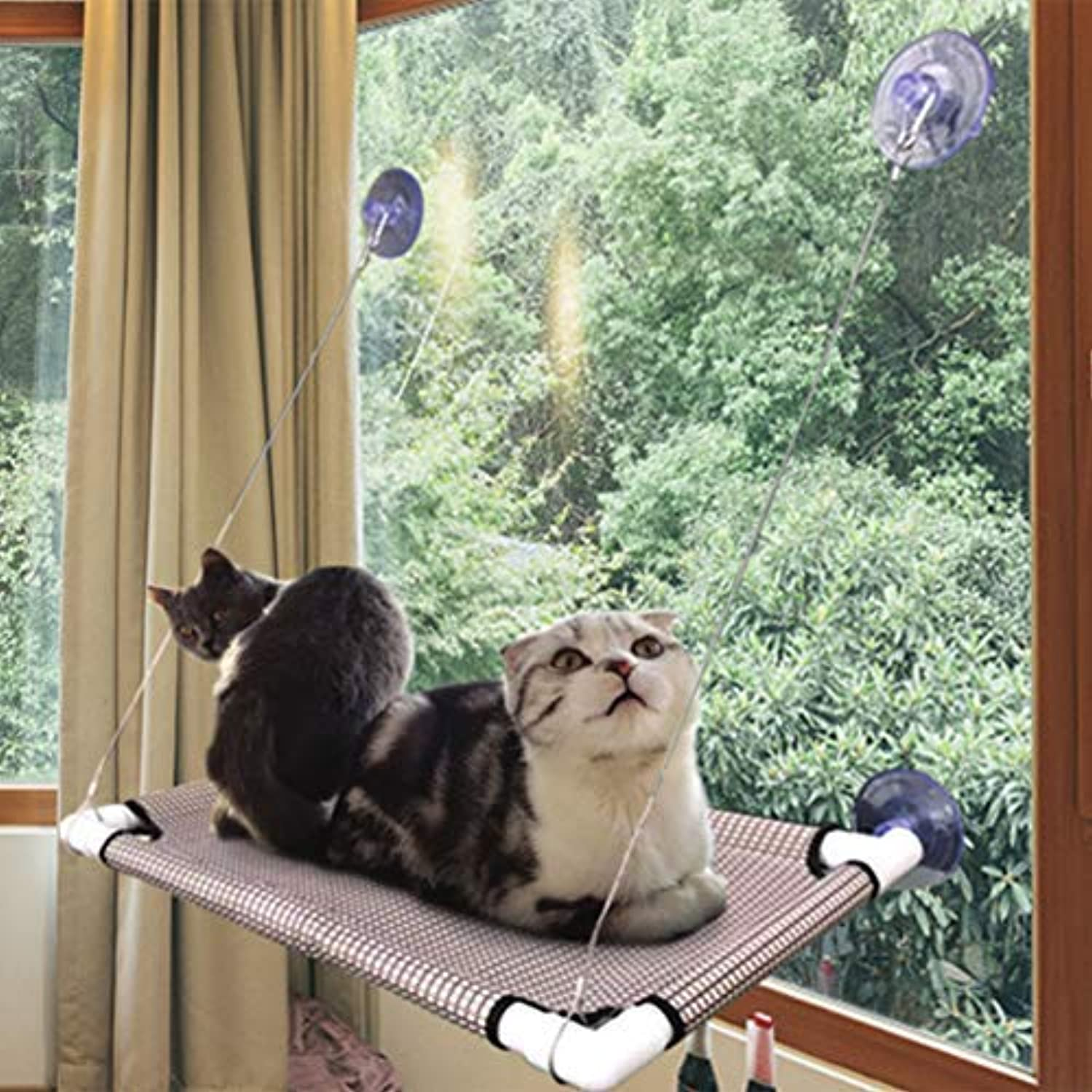 Cat Window PerchDurable Cat Hammock Strong Upgraded Version which Can Holds Up to 60lbs with 4 Big Suction Cups 100% Safe (White, Hanging Cat Window Perch)