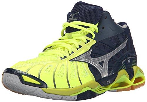 Mizuno Men's Wave Tornado x mid Volleyball Shoe, Neon Yellow/Navy, 12.5 D US