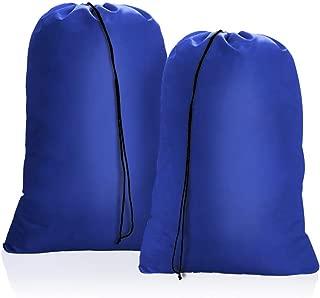 OTraki Heavy Duty Large Laundry Bag 28 x 45inch [2 Pack] XL Drawstring Travel Organizer Bags Camp Home College Dorm Tear Resistant Dirty Clothes Big Storage Bag, Three Loads of Clothes Blue