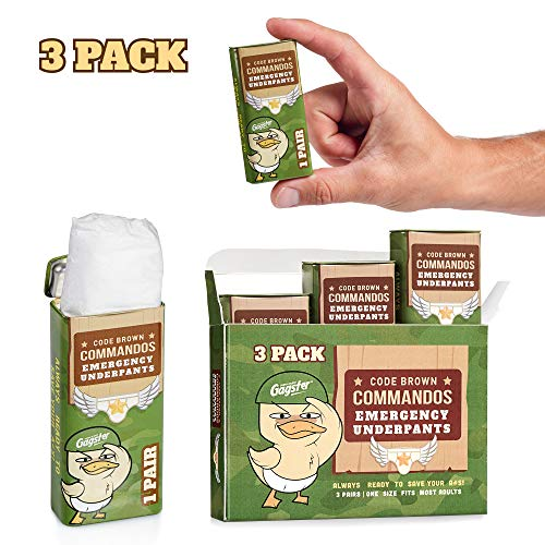 Code Brown Commandos Emergency Underpants in a Can 3 Pairs - Instant Undies in Compact Tin Container - White Elephant Joke Gift - Funny Over The Hill Birthday Gag - Great Underwear for First Aid Kit