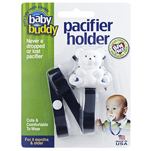 Baby Buddy Pacifier Holder Clip - Cute Fashionable Bear Clips onto Baby's Shirt, Snaps to Paci, Teether, Toy - For Babies 4+ Months - Pacifier Clip for Toddlers Boys & Girls, Navy, 1 Count
