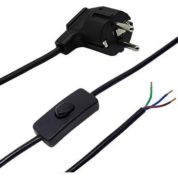 C/âble de raccordement c/âble 1,50/m Interrupteur /à bascule Blanc C/âble 3/fils ce 250/V lampes Prise coud/ée C/âbles anschlussfertig