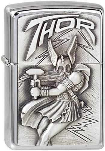 Zippo Zippo Feuerzeug 1300098 Viking Thor Emblem Benzinfeuerzeug, Messing Chrome