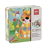 APLI kids- Caja metálica con juego de gomets tigre, Color surtido (15223)