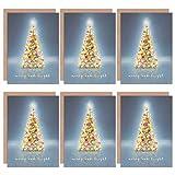 Wee Blue Coo Christmas Cards 6 Pack - Tree Lights Merry Bright Set Xmas Cards Cristo Árbol Ligero Brillante