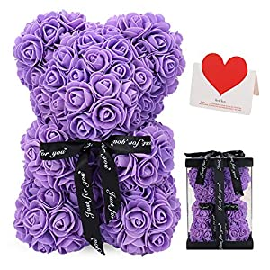 LINKLO Rose Bear Rose Teddy Bear -10 inch Artificial Rose Flower Bear, Gift for Valentines Day, Wedding, Mothers Day and Anniversary, Including Transparent Gift Box (Purple)