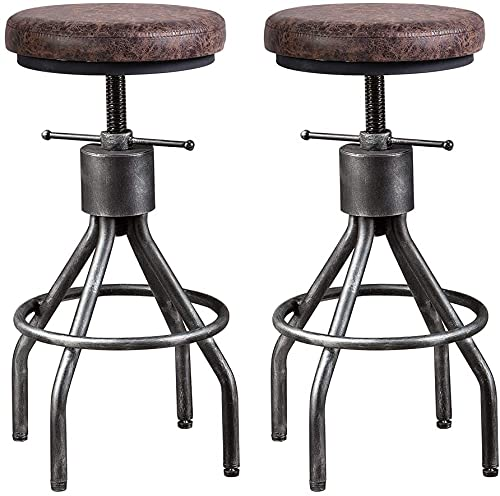 Set of 2 Industrial Bar Stools Vintage Kitchen Dining Chair Office Workbench Stool Swivel Leather Seat Counter Height Adjustable 23-33inch