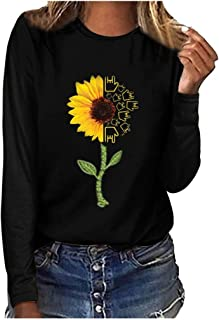 Honghii Women Blouse Plus Size T Shirt Print Sweatshirts Round Neck Long Sleeved Chic Vintage Pullover Slim Fit Jumper