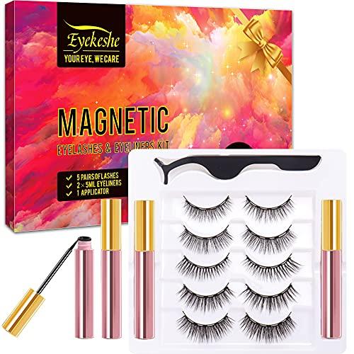 EYEKESHE Faux Cils Magnétique Naturel, Sécurité À l'aise Étanche Réutilisable, Eyeliner et Recourbe-Cils Inclus, Maquillage Approprié pour les Fêtes Mariages Rendez-Vous Occasionnels (5 Paires)