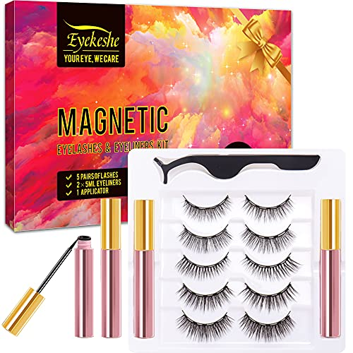 EYEKESHE Pestañas Postizas Magneticas Naturales Incluir Delineador de Ojos y Rizador de Pestañas, Cómodo Impermeable Reutilizable, Adecuado para Maquillaje Carnaval, Boda, Fiesta (5 Pares)