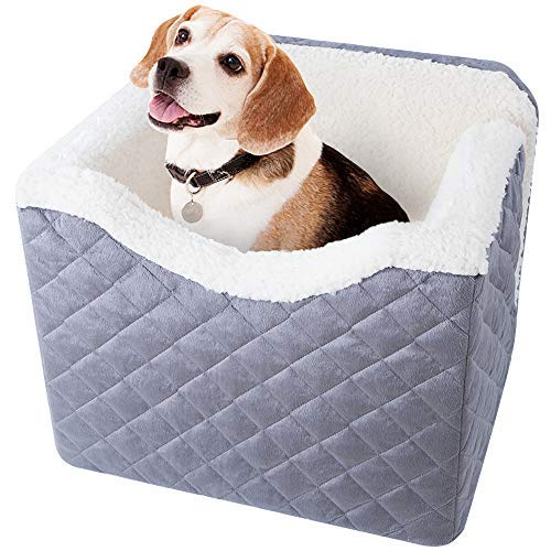 """BEAU JARDIN Extra Large Dog Car Seat Raised Dog Booster Car Seats for Vehicles with 6"""" High Elevated Padded Seat Pet Car Seat for Dogs with Safety Harness for Medium and Large Dogs Travel Carrier"""
